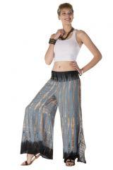 Pantalon coupe large évasée tie & die gris souris Junon 288417