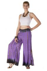 Pantalon coupe large évasée tie & die lilas Adrastée 288396