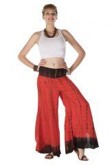 Pantalon coupe large fluide tie & die rouge Vesta 288411