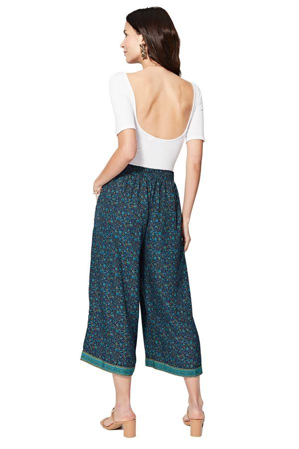 Pantalon court large femme bleu à imprimé fleurs chic Motoe