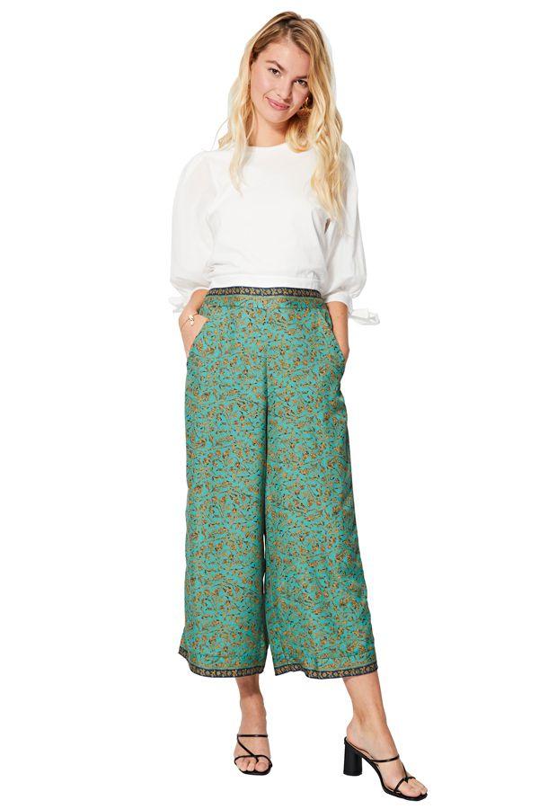 Pantalon court large femme original imprimé chic Moeka