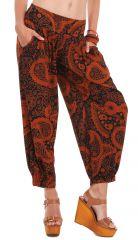 Pantalon d'été 7/8 Ethnique et Original Noir et Rouille Rudolf 281357