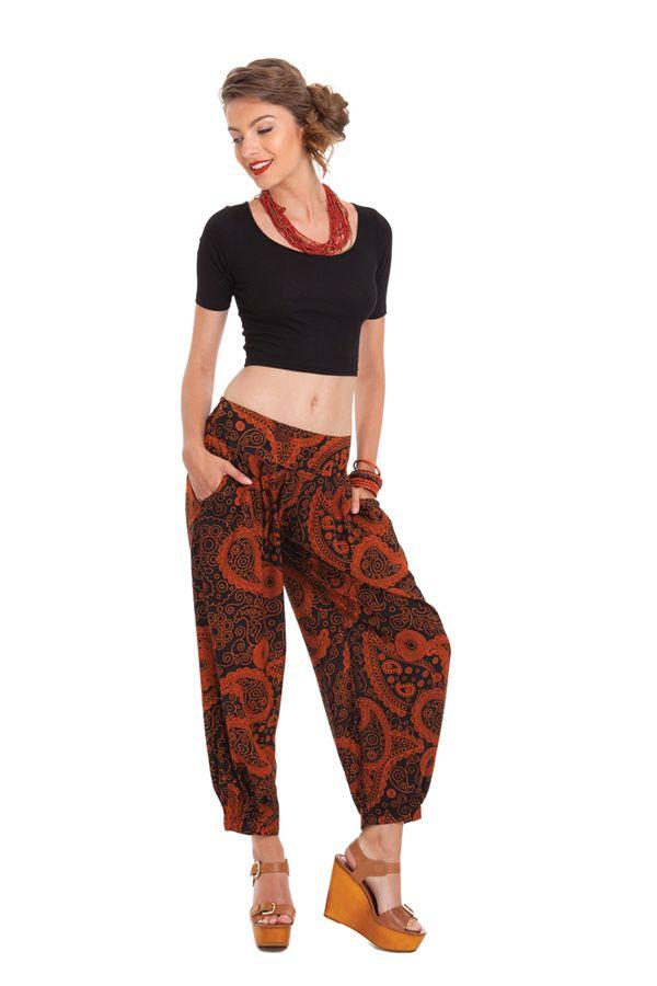 Pantalon d'été 7/8 Ethnique et Original Noir et Rouille Rudolf 281358