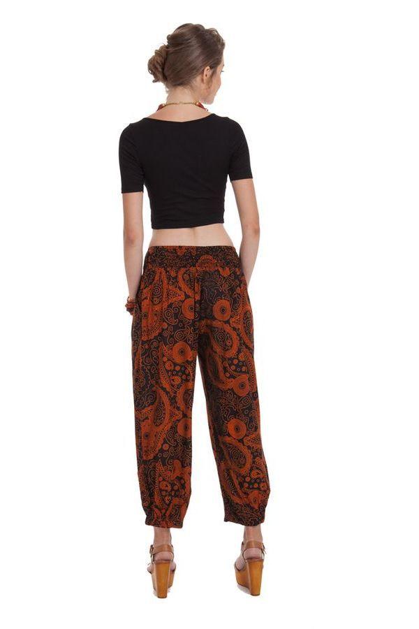 Pantalon d'été 7/8 Ethnique et Original Noir et Rouille Rudolf 281359