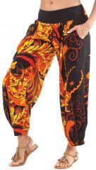 Pantalon d'été 7/8 Ethnique et Original Rudolf Noir et Orange 281354