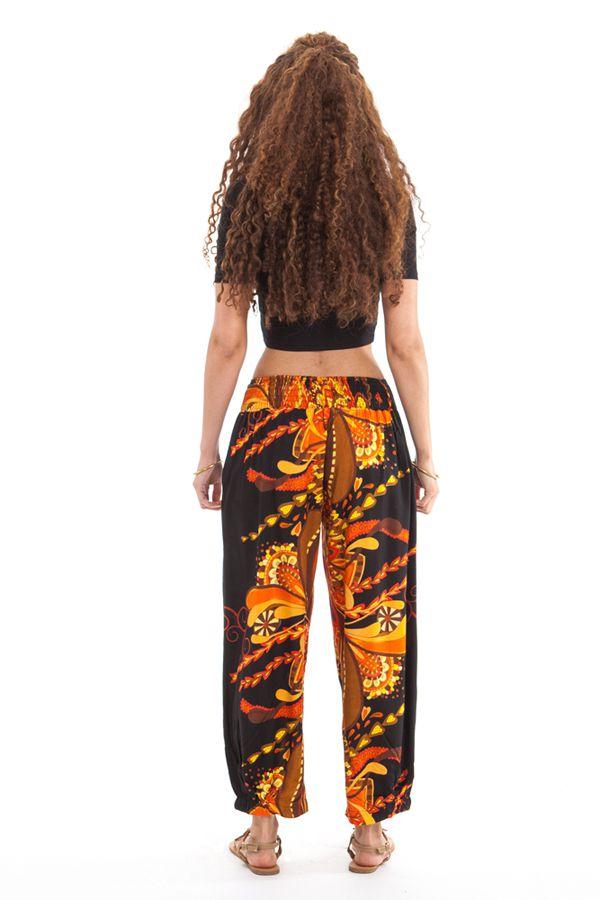 Pantalon d'été 7/8 Ethnique et Original Rudolf Noir et Orange 281356