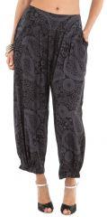 Pantalon d'été 7/8 Noir et Gris Ethnique et Original Rudolf 281351