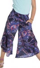 Pantalon d'été avec ouvertures aux jambes et imprimés Samy 294127