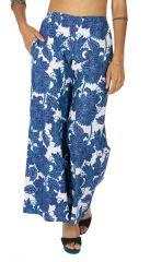 Pantalon d'été avec un imprimé bleu et blanc pour femme Daphnée 317030