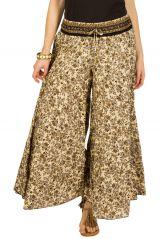Pantalon d'été beige esprit Bohème et Ethnique Aubin 292617