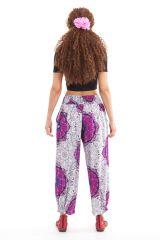 Pantalon d'été Blanc et Rose 7/8 Ethnique et Original Rudolf 281362