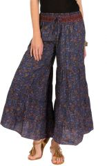 Pantalon d'été Bleu roi esprit Bohème et Ethnique Aubin 292603