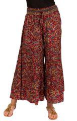 Pantalon d'été bordeaux look Bohème et Ethnique Augustin 292623