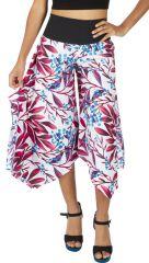 Pantalon d'été effet pantacourt avec un imprimé sur fond blanc Félia 317024