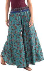 Pantalon d'été esprit Bohème et Ethnique Aubin Turquoise 281108