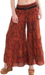 Pantalon d'été esprit Bohème et Ethnique Rouille Aubin 281115