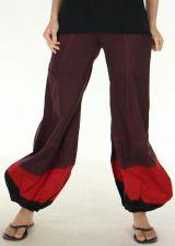 Pantalon d'été Ethnique et Bouffant pour Femme Babila Prune 278107