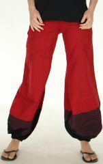 Pantalon d'été Ethnique et Bouffant pour Femme Babila Rouge 278080