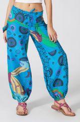Pantalon d'été Ethnique et Coloré Harold Turquoise 287085