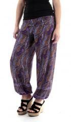 Pantalon d'été Ethnique Large et Fluide Flavien Violet 287071