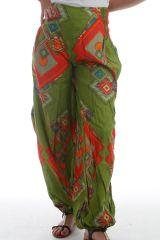 Pantalon d'été Ethnique pour femme forme bouffante Altana Anis 297742