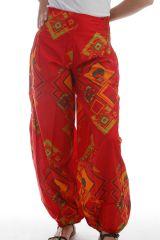 Pantalon d'été Ethnique Rouge pour femme forme bouffante Altana 297766