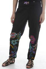 Pantalon d'été noir aux imprimés colorés et ethniques Zao 311741