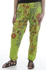 Pantalon d'été pour femme coloré et imprimé fleurs Yuan 311738