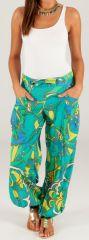 Pantalon d'été pour Femme Ethnique et Bouffant Porto Vert 280315