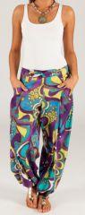Pantalon d'été pour Femme Ethnique et Bouffant Porto Violet 280313