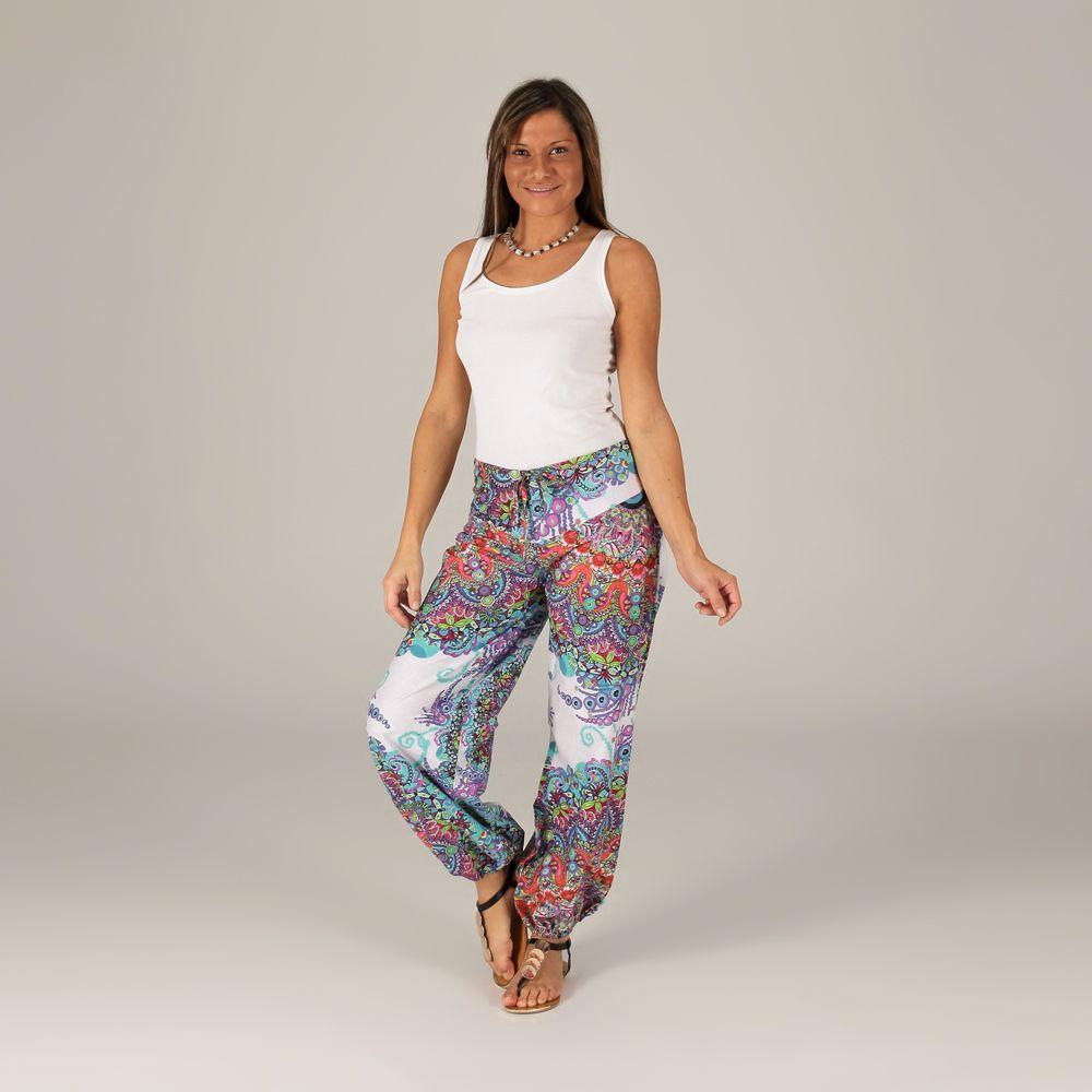pantalon d 39 t pour femme original et color blanc badoli. Black Bedroom Furniture Sets. Home Design Ideas