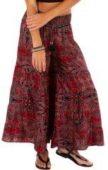 Pantalon d'été pour femme original look bohème Banjul rouge 314524