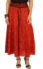 Pantalon d'été rouge esprit Bohème et Ethnique Aubin 292609