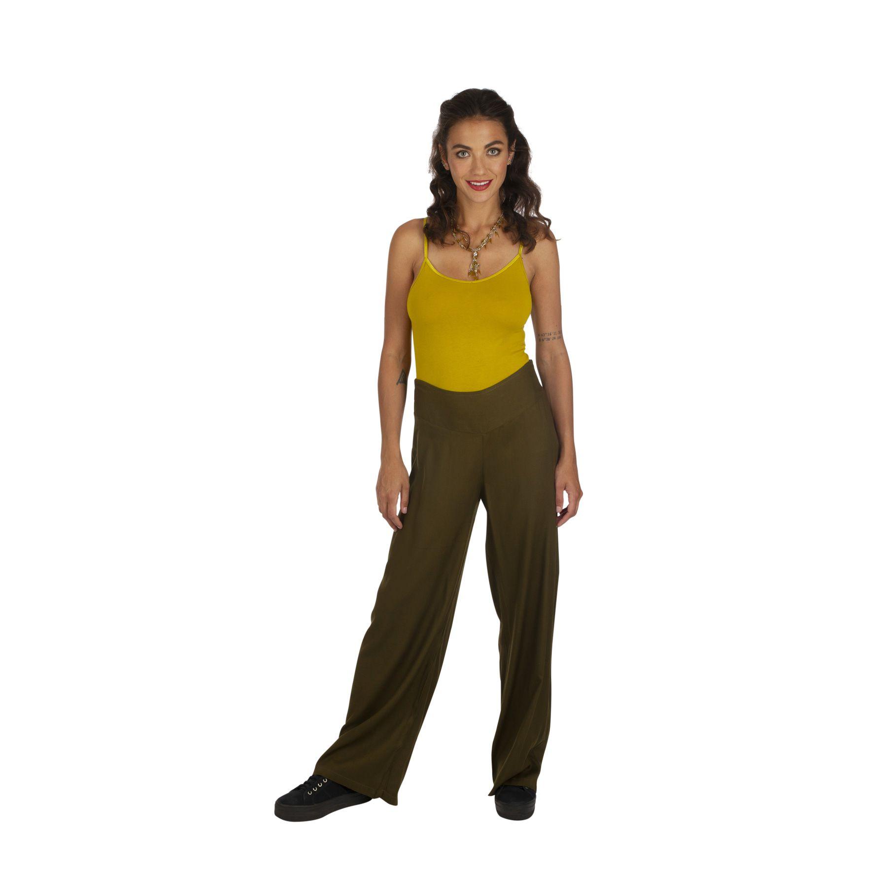 Pantalon de ville droit femme morphologie kaki pas cher Friendly 319542
