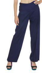 Pantalon droit femme bleu marine taille élastique Friendly 318388