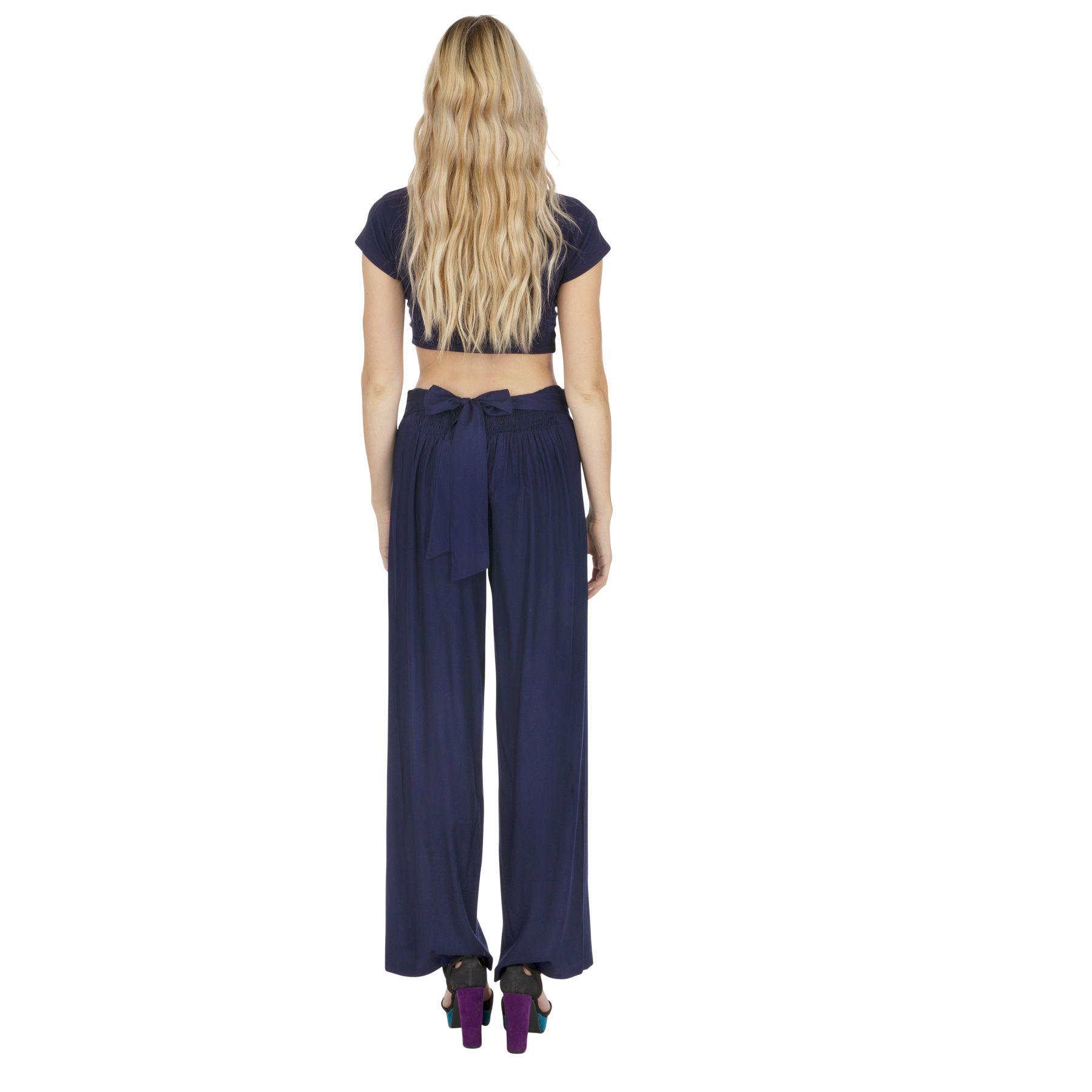 Pantalon droit femme bleu marine taille élastique Friendly 318391