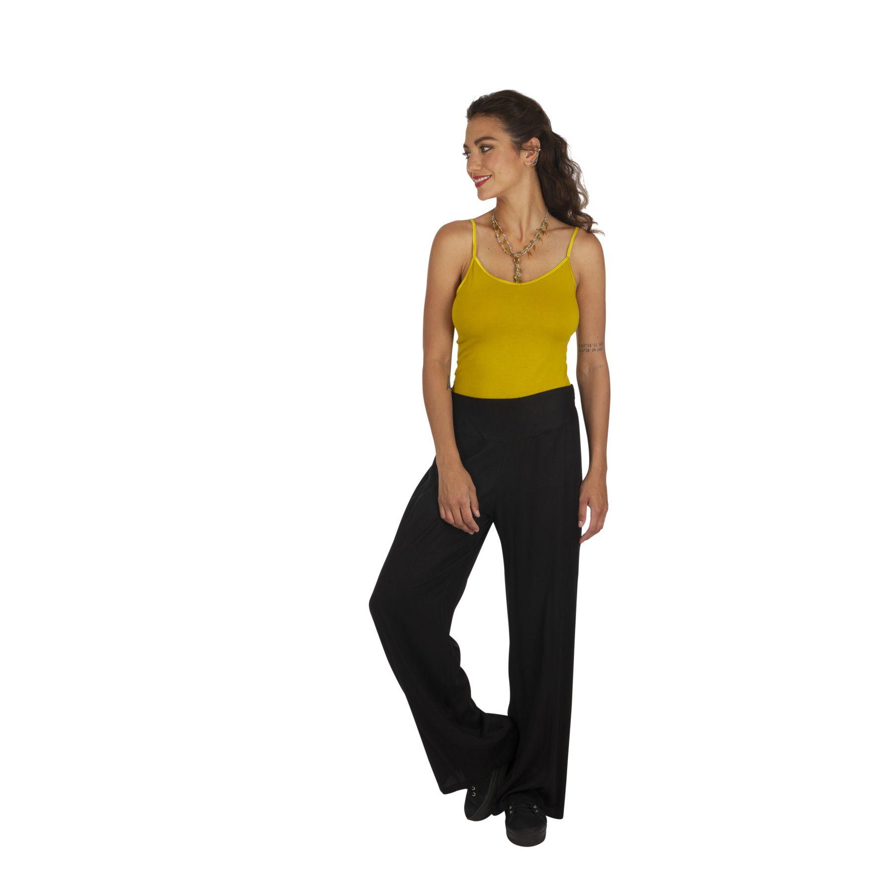 Pantalon droit noir femme chic pas cher taille élastique Friendly 318386