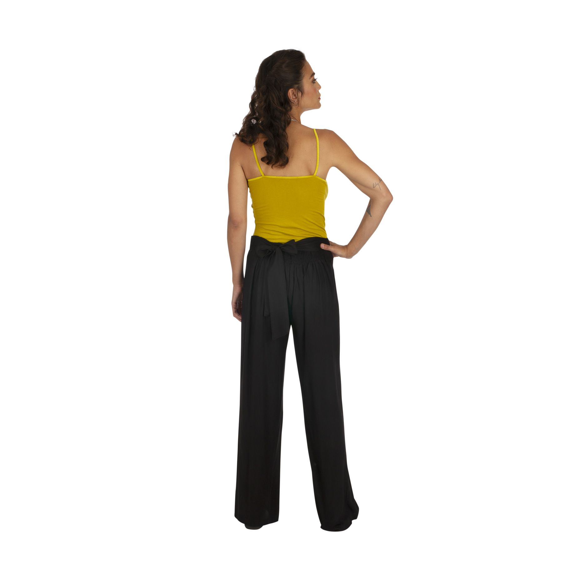 Pantalon droit noir femme chic pas cher taille élastique Friendly 318387