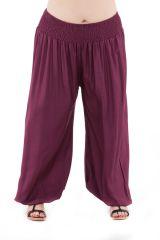 Pantalon Edena pour Femme Grande taille type Aladin Prune 283795