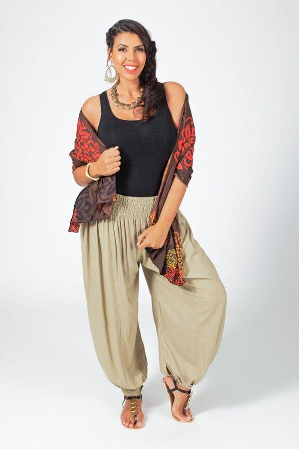 Pantalon Edena pour Femme Grande taille type Aladin Sable 317372