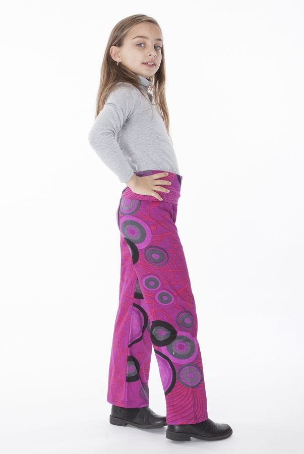 Pantalon enfant droit Rose imprimés circulaires et taille haute Maëlis 302284