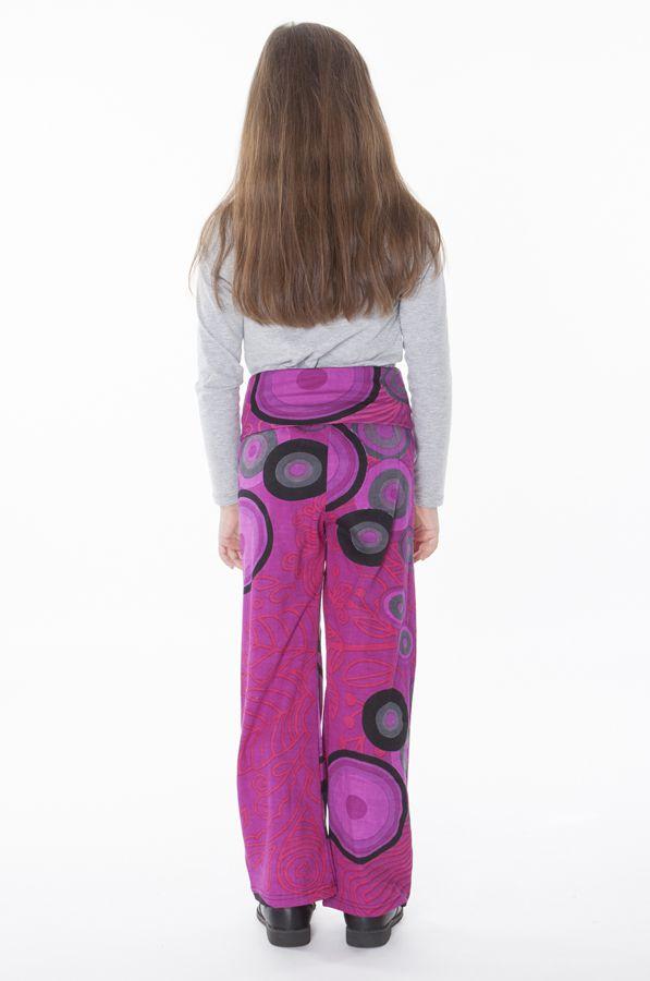 Pantalon enfant droit Rose imprimés circulaires et taille haute Maëlis
