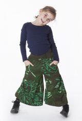 Pantalon enfant large Vert smocké à la taille et imprimé Soha 302288
