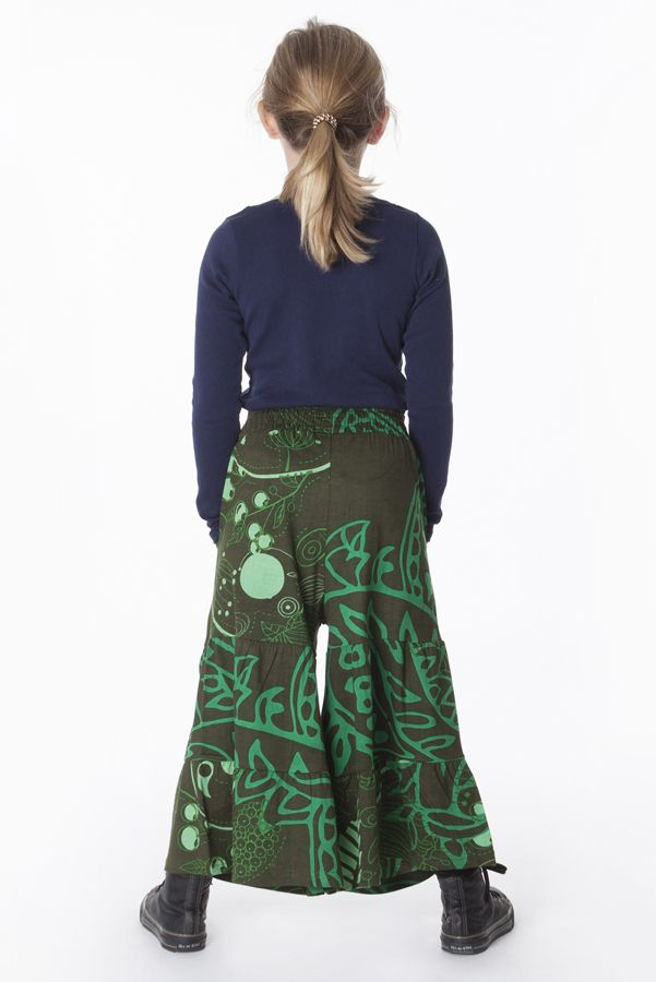 Pantalon enfant large Vert smocké à la taille et imprimé Soha