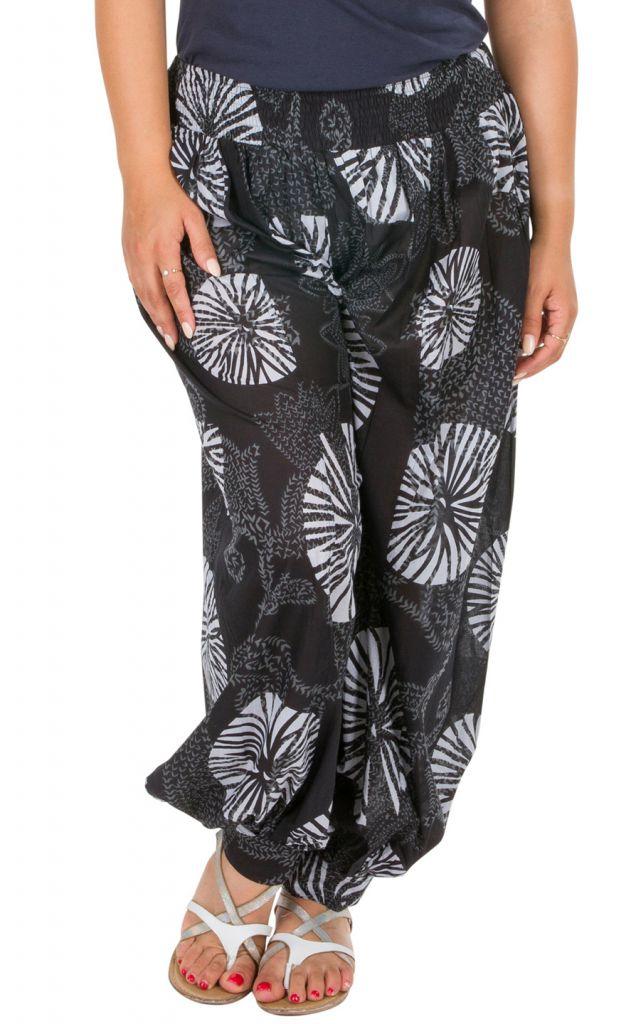 Pantalon ethnique élastiqué grande taille en coton Fanie 306623