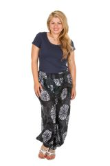 Pantalon ethnique élastiqué grande taille en coton Fanie 306624