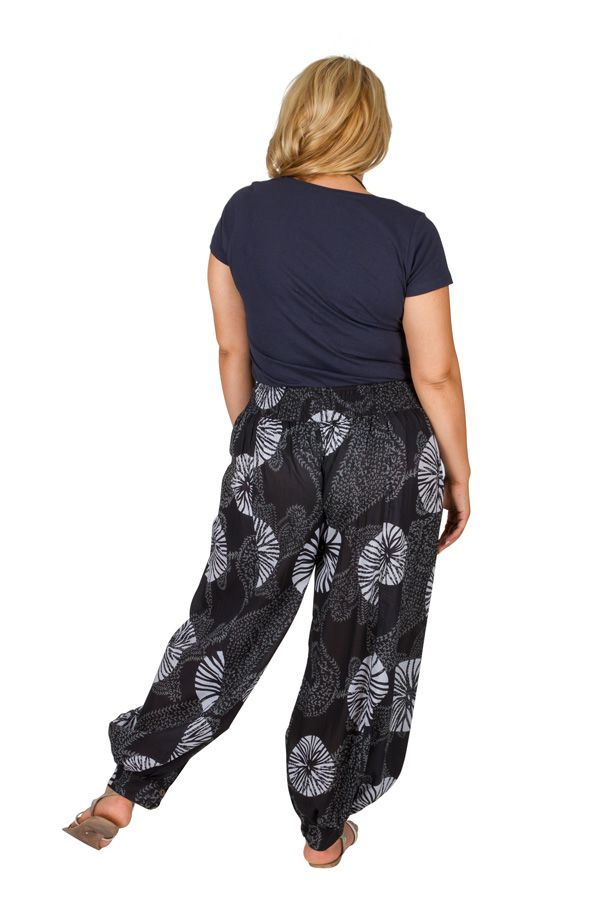 Pantalon ethnique élastiqué grande taille en coton Fanie 306625