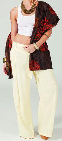 Pantalon Ethnique et Agréable large pour femme Glenn Crème 274716