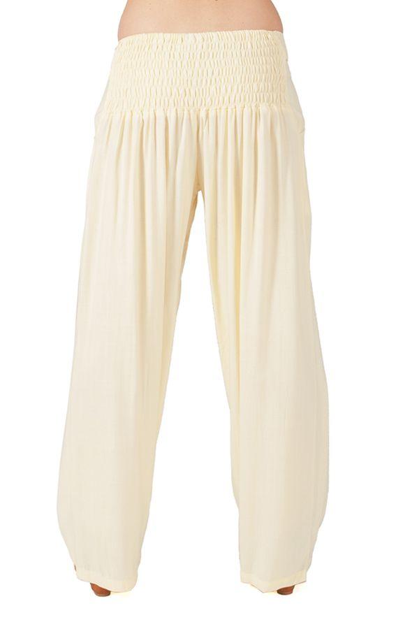 Pantalon Ethnique et Agréable large pour femme Glenn Crème 282272