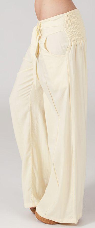 Pantalon Ethnique et Agréable large pour femme Glenn Crème 282328